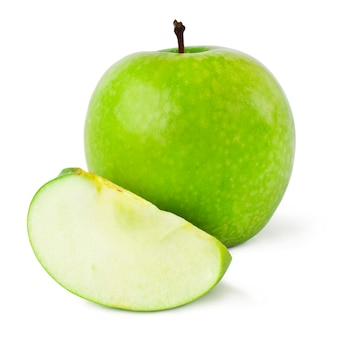 Зеленые яблоки на белом