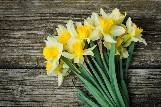 新鮮な春の花の水仙の花束