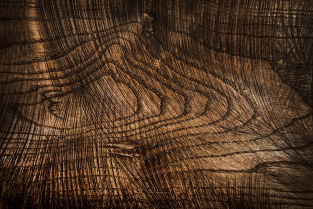 古くて使用されている天然の木製調理板