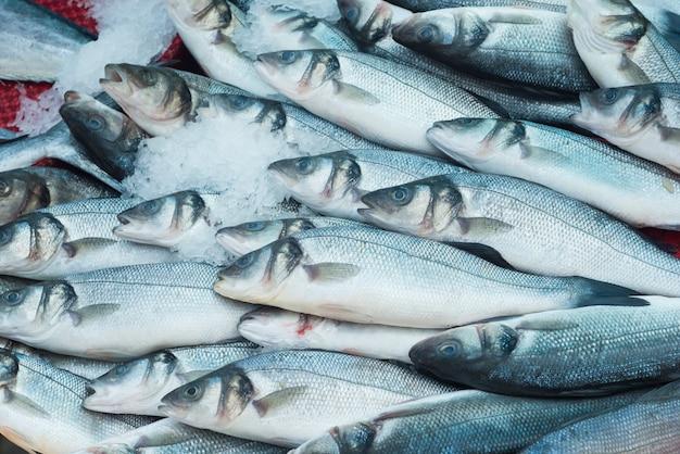 Разнообразная свежая рыба и морепродукты на рыбном рынке