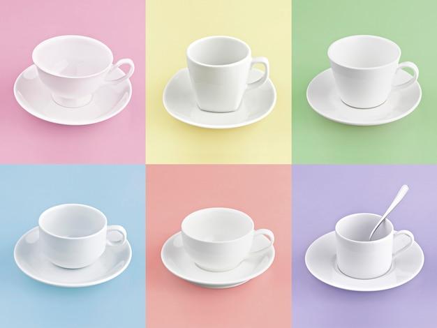 Набор разных чашек кофе