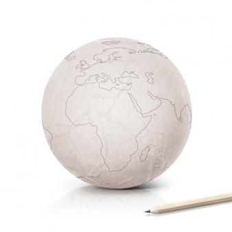 Карта европы инсульт на бумаге глобус на белом изолированные