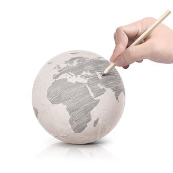 Тень, рисунок карты европы на бумажный шарик на белом, изолированные
