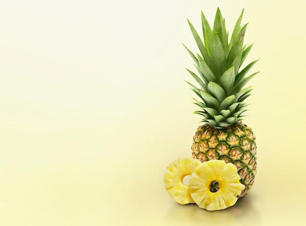 黄色の無地の背景にパイナップル
