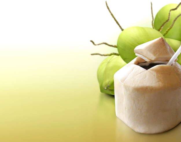 固体背景に若いココナッツ