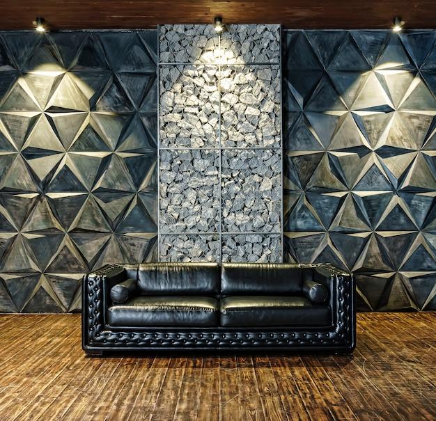 Кожаный черный диван крупным планом. элитная мебель