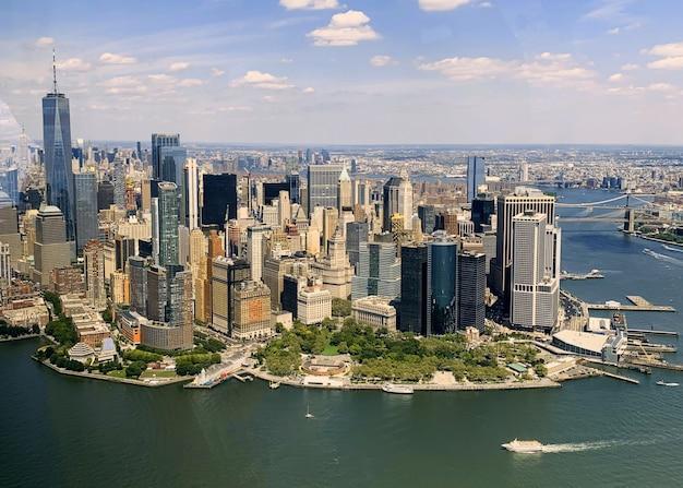 ニューヨーク市のマンハッタンの空撮