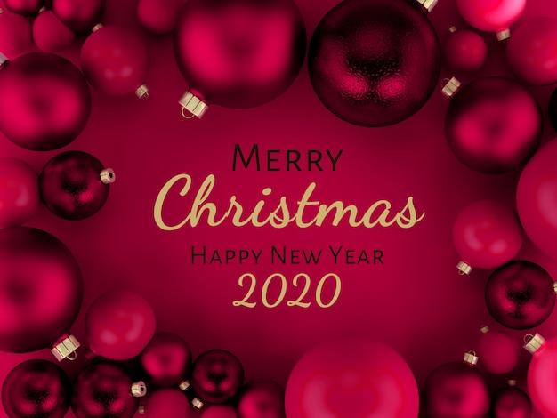 ピンクのクリスマスボール背景グリーティングカード