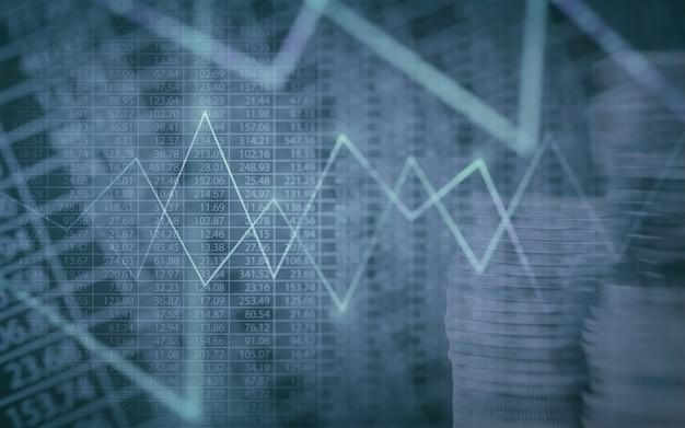グラフとコインのスタックで抽象的な財務チャート