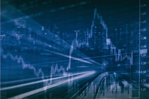 Абстрактная финансовая биржевая диаграмма с дорогой и городским пейзажем