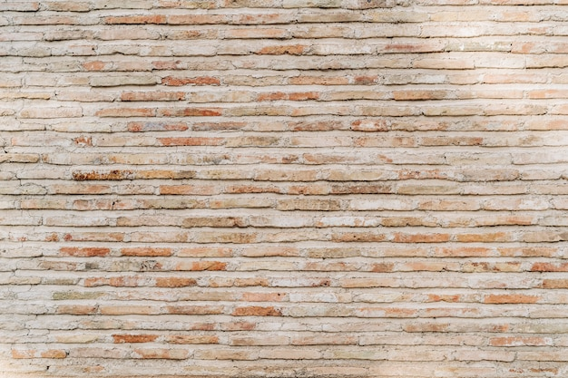 古いレンガの壁の背景、石積みの広いパノラマ
