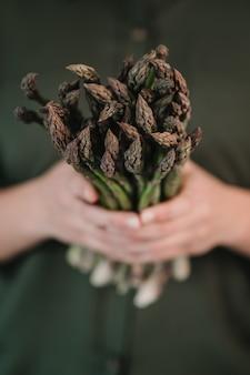アスパラガス。新鮮なアスパラガス。グリーンアスパラガス。農家の手でアスパラガス
