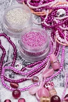 ピンクとクリスタルガラスのビーズミックス
