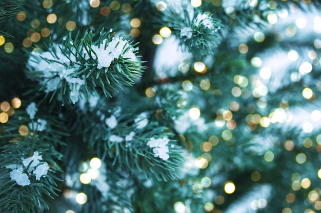 光、雪のフレークとクリスマスツリーのクローズアップ。クリスマスと新年の休日の背景。ヴィンテージ色のトーン。