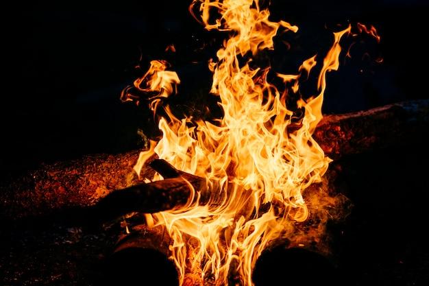 夜に燃える木。山の自然で観光キャンプでキャンプファイヤー。炎と火は暗い抽象的な夜に火花を放ちます。屋外でバーベキューを調理します。