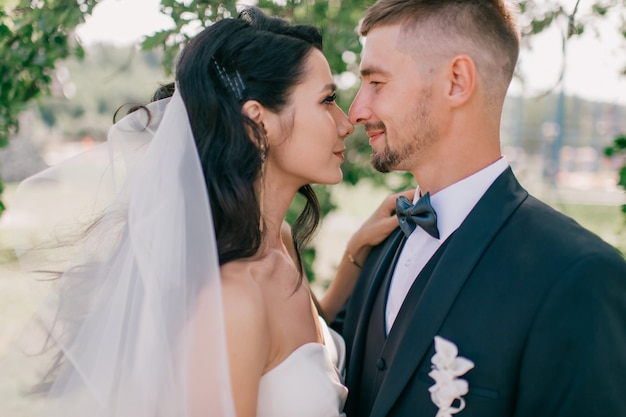 美しい結婚式のカップルの屋外のポートレート。