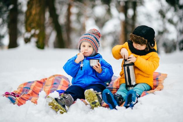 小さな男の子は冬の森でピクニックをしています。雪に覆われた森の魔法瓶からお茶を飲む若い子供たち。