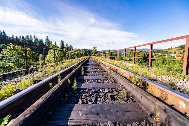 山の中の線路。美しい風景の中の鉄道。
