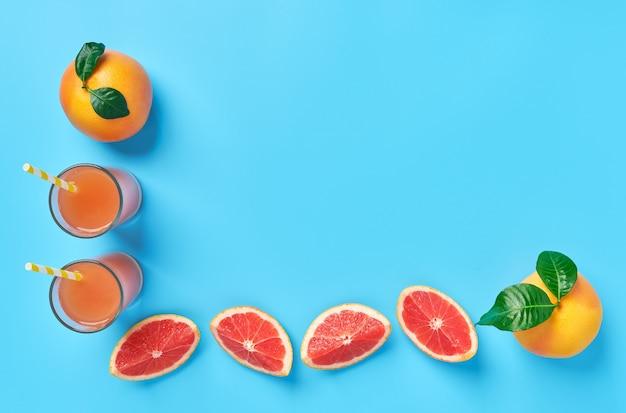 グレープフルーツスライスと熟したグレープフルーツとグレープフルーツジュースの組成