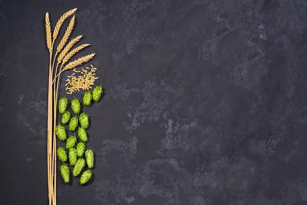 Желтые зерна пшеницы и зеленые свежие шишки хмеля для ремесленного пива. вид сверху