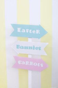 イースター、おめでとう!イースター、ニンジン、ウサギのカラフルなプレートガイド。イースタールームの装飾と装飾、子供用プレイルーム。イースター記号ポインター。明るい色の部屋