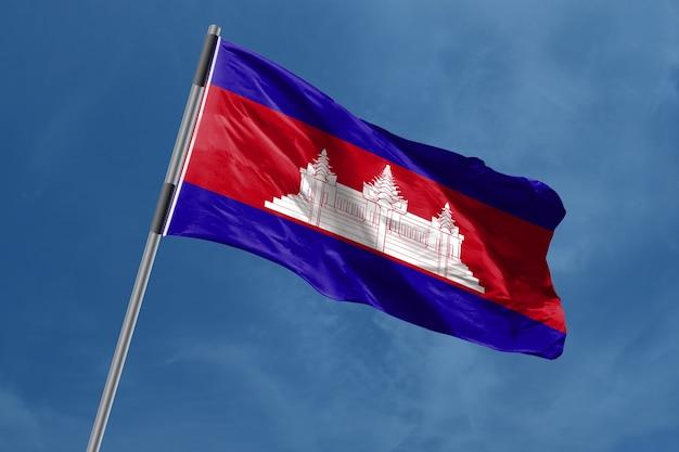 カンボジアの旗を振る