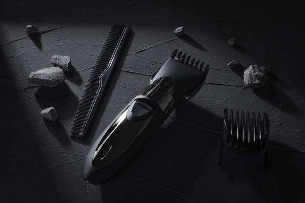 Вид сверху. триммер для волос и головы на темном бетоне, каменный стол с жесткими тенями