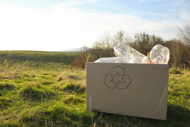 若いボランティアが公園のエリアを掃除し、公共の公園でペットボトルを保管しています。