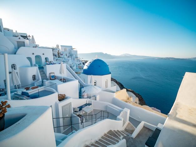 イア、サントリーニ島、ギリシャからの夕景。