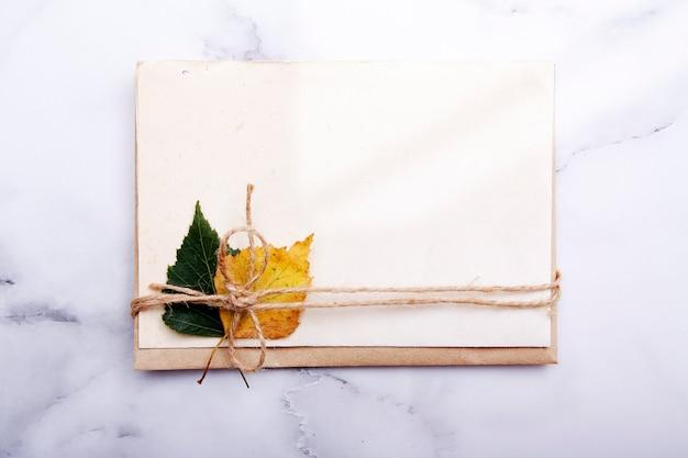 ひもの下の秋の白樺の葉と空のシート