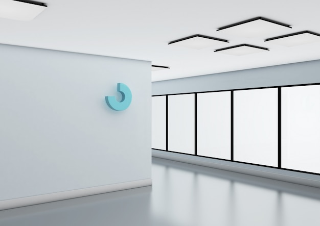 Абстрактный логотип макет на стене офиса.