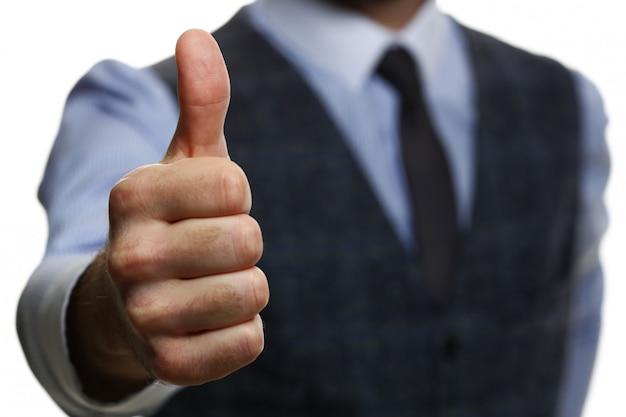 Мужской показ руки в порядке или подтвердите во время конференции