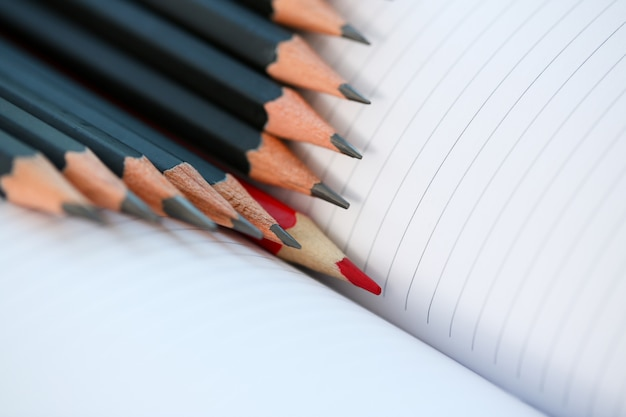 たくさんの人から目立つ赤鉛筆