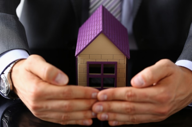 スーツとネクタイの腕を持つ男の小さなおもちゃの家
