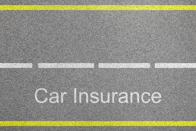 車線と自動車保険の記号概念とアスファルト道路の平面図