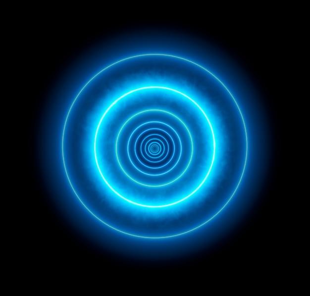 ネオンブルーサークル背景。バーチャルリアリティ。抽象的な光