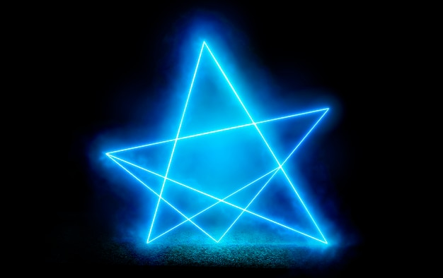 Ультрафиолетовая неоновая звезда. абстрактный цифровой фон с неоновой звездой. лазерное шоу на траве
