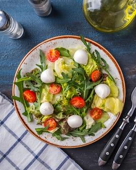 新鮮なサラダルッコラ、レタス、チェリートマト、モッツァレラチーズ。上面図。