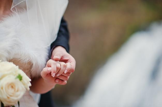 寒い秋の日に素敵な新婚夫婦の背景の滝
