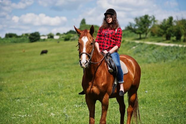 Молодая милая девушка ехать лошадь на поле на солнечном дне.
