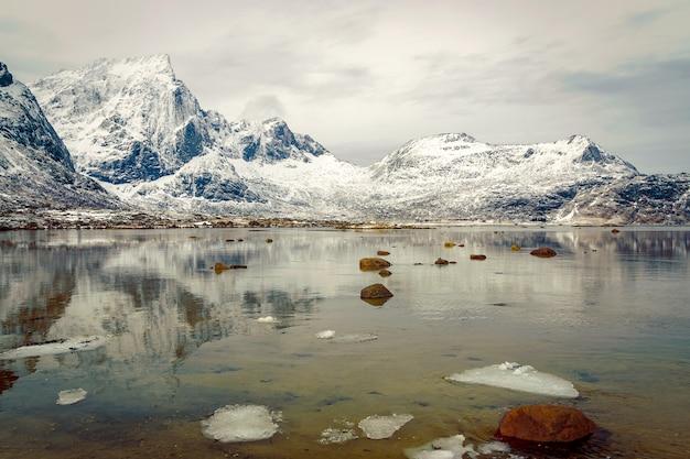 湖の山の反射