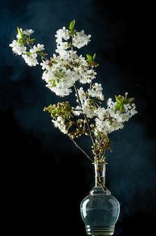 黒の煙の桜の小枝