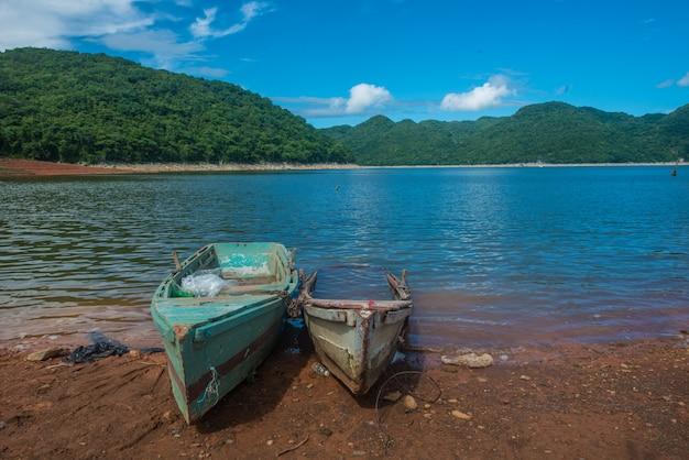 木と美しい景色を望む湖のボート