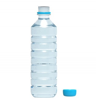 Пластиковая бутылка воды на белом фоне