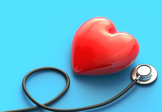Медицинский экзамен с красным сердцем и стетоскоп концепция здравоохранения. вид сверху медицинского оборудования для лечения заболеваний