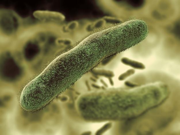 緑の背景の細菌