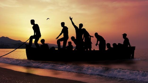 戦争から逃げる移民とボート