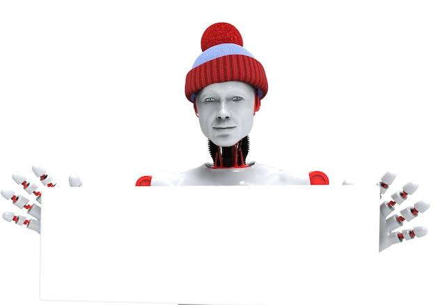 Гуманоид с новогодней шапкой