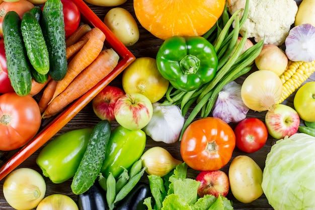 異なる新鮮な生のカラフルな野菜、秋の収穫のセット