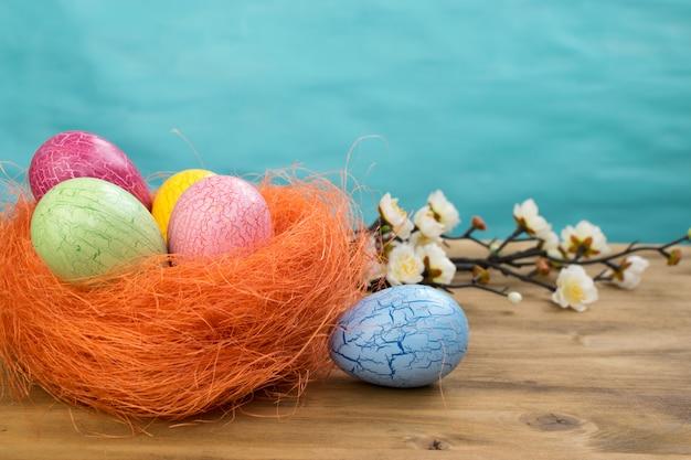 Вид спереди пасхальных яя в оранжевом гнезде и цветках весны на предпосылке древесины и бирюзы с космосом сообщения.